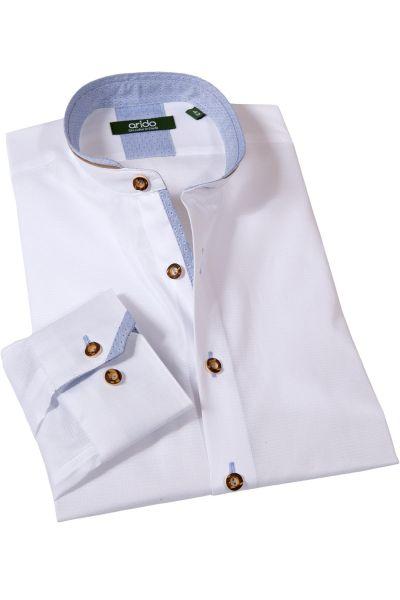 arido Trachtenhemd weiß mit Stehkragen und hellblau