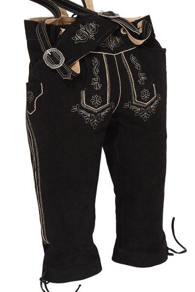 Kniebund Lederhose Martin in schwarz mit Träger
