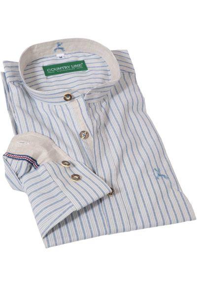 Edles Trachtenhemd mit Streifen und Stehkragen