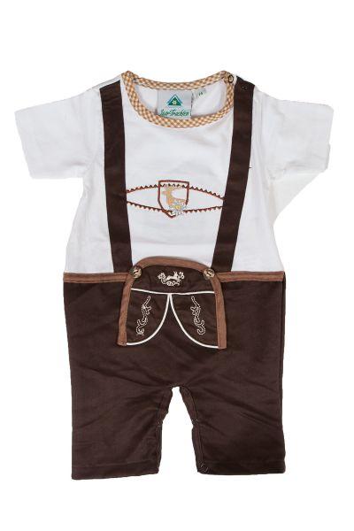 Trachten-Babystrampler im Lederhosenstil