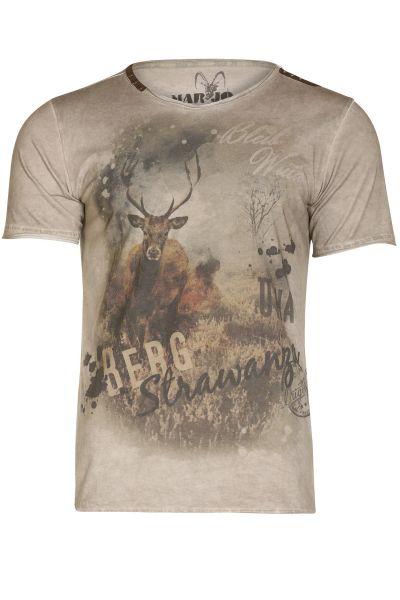 Herren Trachten T-Shirt Bergstrawanza in grau