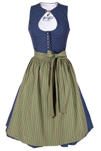 Midi Dirndl Olivia in dunkelblau und grün mit O-Ausschnitt