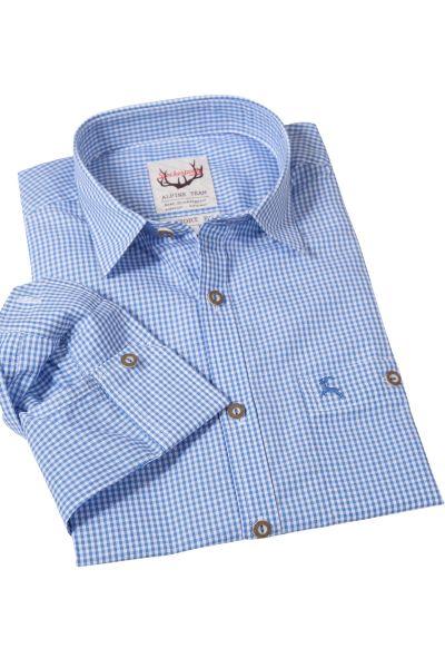 Trachtenhemd Karo in hellblau mit Liegekragen