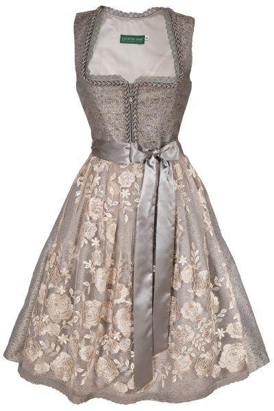 Midi Dirndl Glamour in silber grau mit Spitzenschürze
