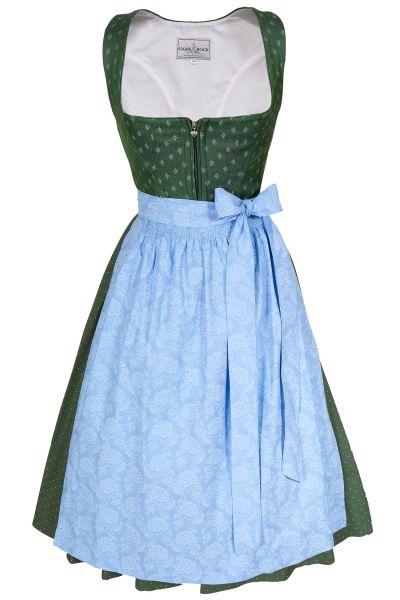 Leinen Dirndl Regina in grün mit blauer Schürze
