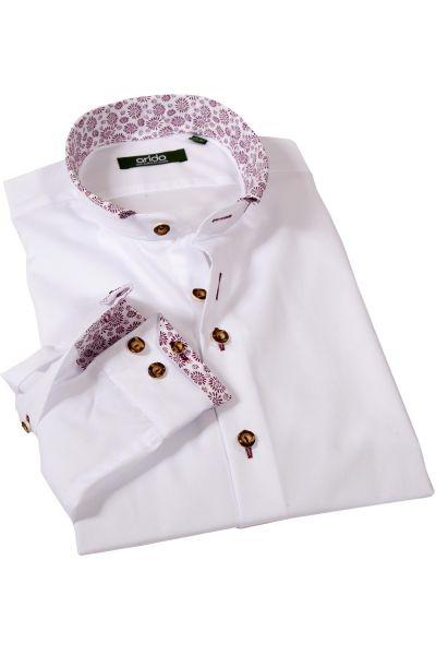 arido Trachtenhemd weiß mit Stehkragen und bordeaux