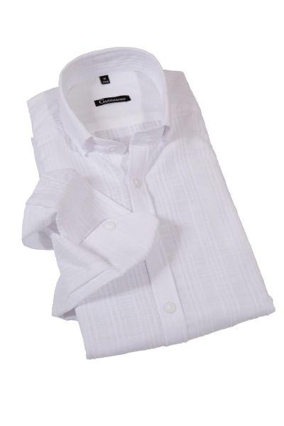Trachtenhemd in weiß mit Strukturmuster Streifen