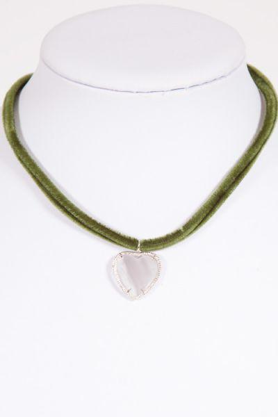Trachtenkette Herz mit Steinen an Samtband in tanne