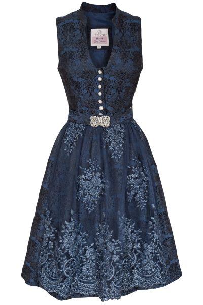 Midi Dirndl in dunkelblau mit Glamour Schürze