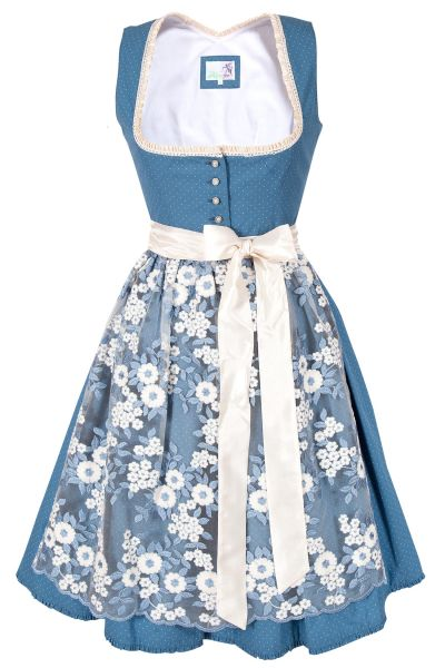 Mini Dirndl Bloom in taubenblau mit creme