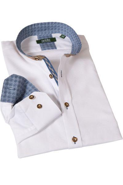 Weißes Arido Trachtenhemd mit dunkelblauen Details