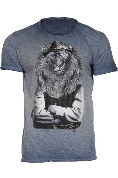 Trachten Shirt für Herren in dunkelblau Leopold