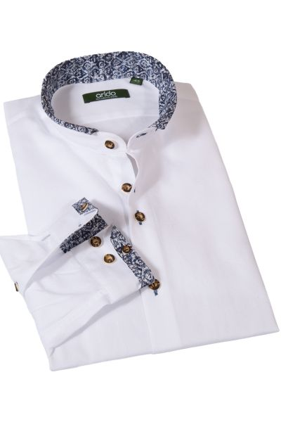 Trachtenhemd weiß mit Stehkragen und dunkelblauen Details