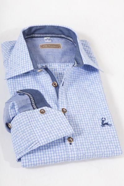 Trachtenhemd klein kariert in hellblau sehr elegant