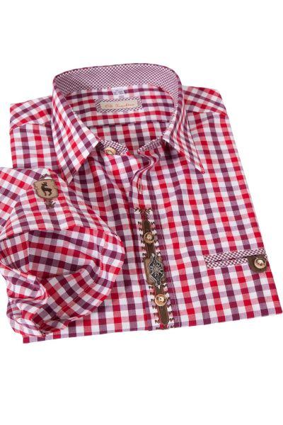 Trachtenhemd im Landhaus Stil mit Karos in rot und weinrot