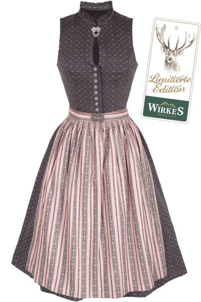 Designer Dirndl Oda in grau und rosa hochgeschlossen Limitierte Edition