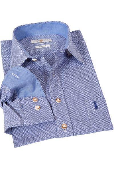 Trachtenhemd von Almsach in blau kariert