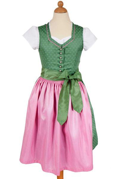Kinder Dirndl Julchen in grün mit rosa Schürze und Bluse