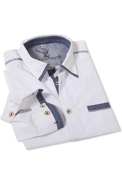 Trachtenhemd Elwin in weiß mit dunkelblauen Details von Stockerpoint