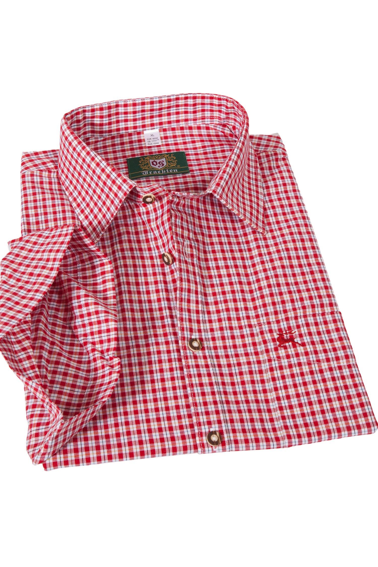 Trachtenhemd Kurzarm rot kariert