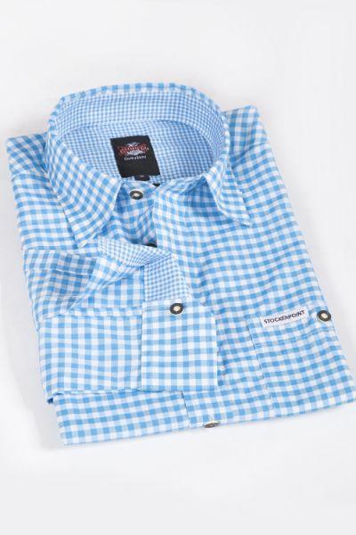 Trachtenhemd türkis weiß kariertes Hemd 5
