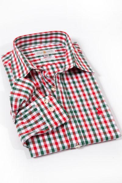 Trachtenhemd kariert in rot und grün