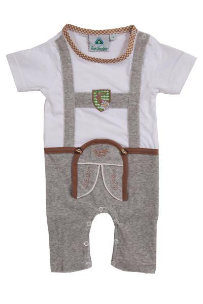 Baby Strampler Lederhose weiß grau