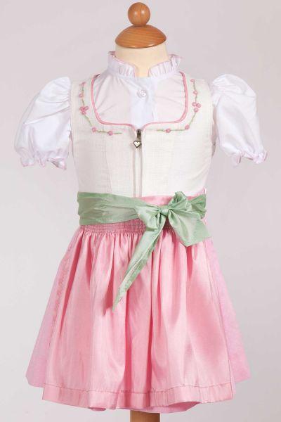 Babydirndl Maja aus Leinen in creme mit rosa