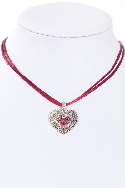 Trachtenkette / Dirndlkette mit Satinband in fuchsia und silbernem Herz