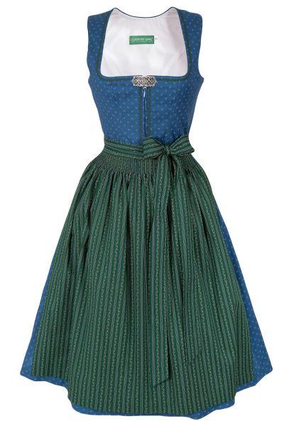 Midi Dirndl aus Baumwolle in blau und dunkelgrün