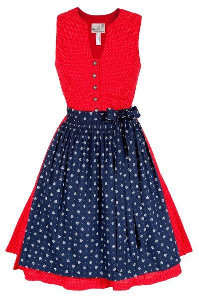Mini Dirndl Bernalda in rot und dunkelblau mit Gürtel