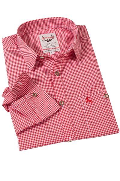 Trachtenhemd Karo in rot mit Liegekragen