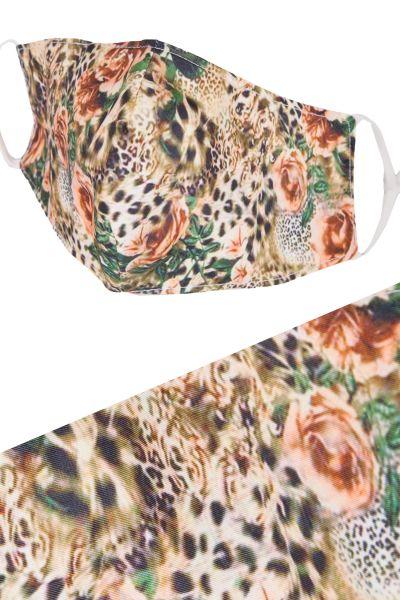 Mund Nasen Maske Leopard in braun mit Rosen