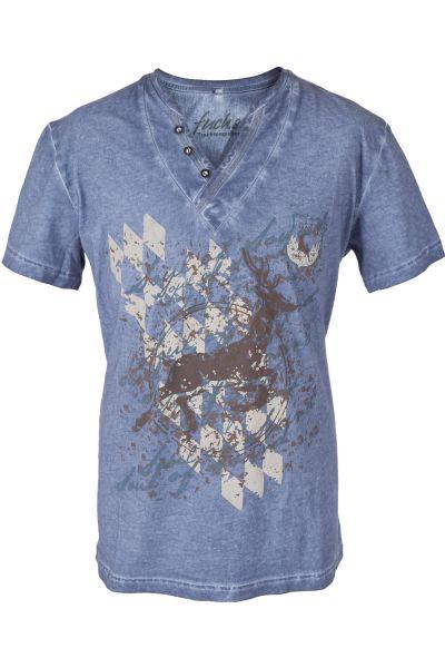 Herren Trachten Shirt in blau mit Hirsch
