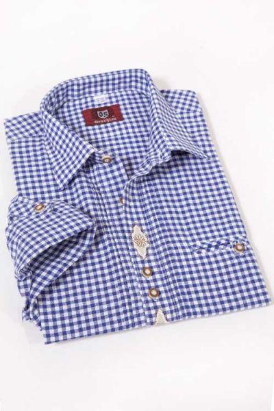 Trachtenhemd blau weiß kariert im Landhaus Stil