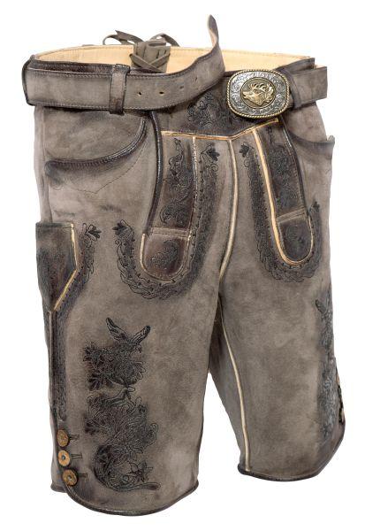 Kurze Lederhose Engelbert in kohle grau