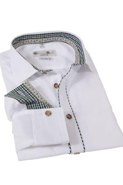 Trachtenhemd in weiß und elegant von G`Weih & Silk