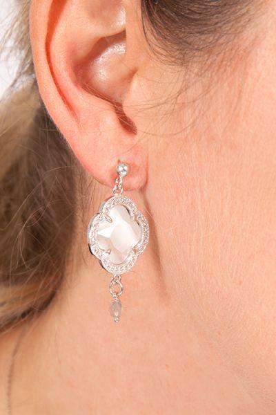 Ohrringe edel in silber mit Kleeblatt