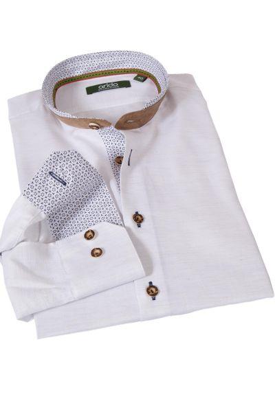 Trachtenhemd in weiß blau mit Velours Stehkragen