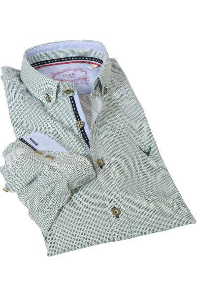 Trachtenhemd mit Retro Muster in grün von pure