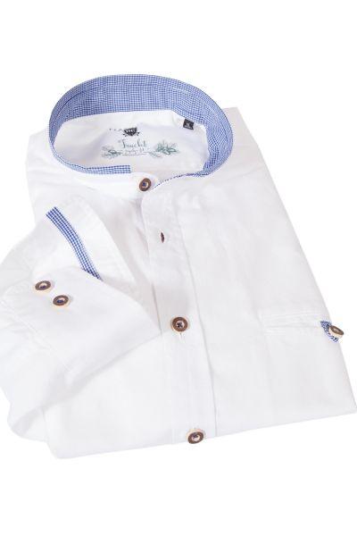 Herren Trachtenhemd in weiß mit Karo dunkelblau