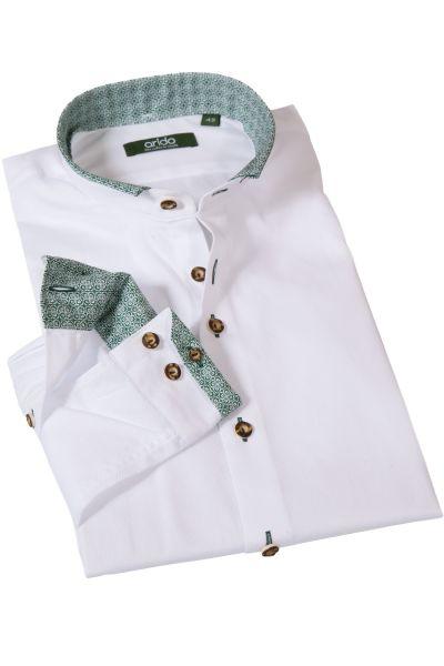 Weißes Arido Trachtenhemd Oxford mit grünen Details