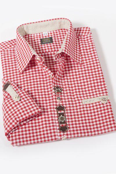 Trachtenhemd rot weiß kariert Landhaus Stil 1