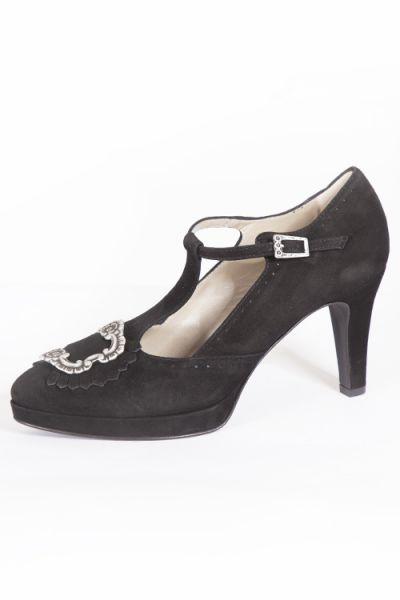 Trachtenschuhe für Damen als Pumps in schwarz mit Schnalle