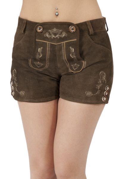 Kurze Damen Lederhose schlicht und zünftig in braun
