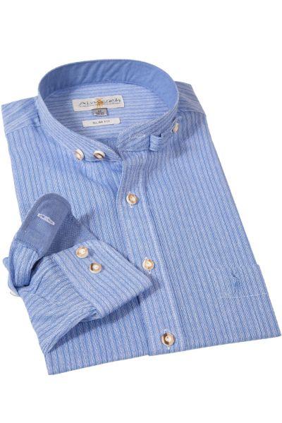 Trachtenhemd Retro Blau Streifen
