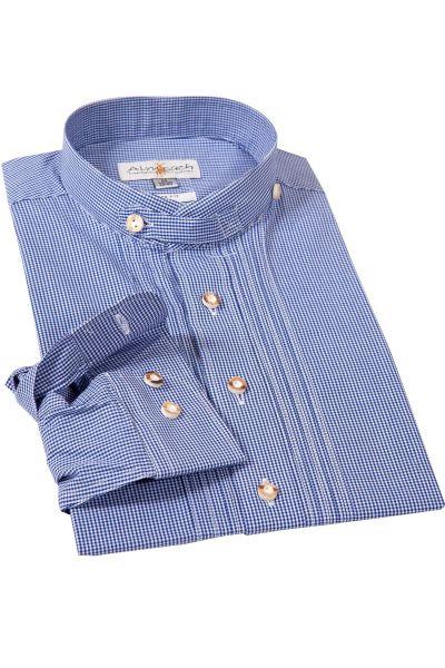 Trachtenhemd mit Vichykaro in blau mit Stehkragen