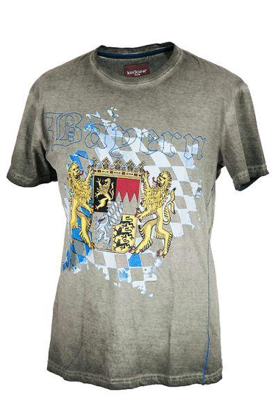 Trachtenshirt in grau mit Bayernwappen und Löwe