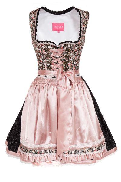 Mini Dirndl in tollem Kontrast mit Rosen in schwarz und rosa