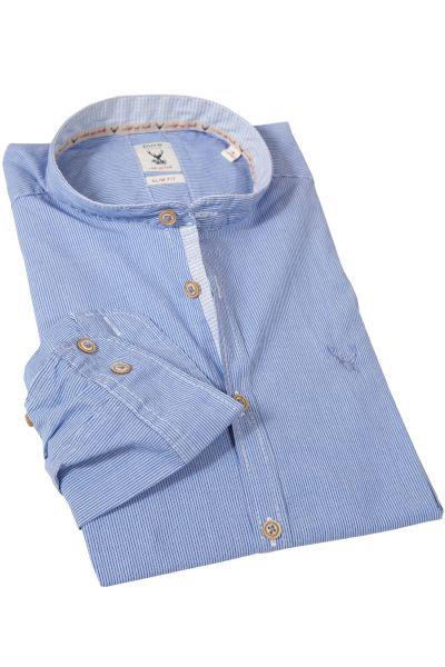 Slim Fit Trachtenhemd mit Retro Streifen blau